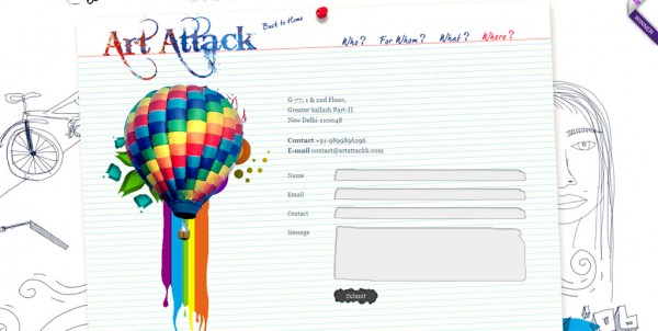 Formulaire contact design art attack
