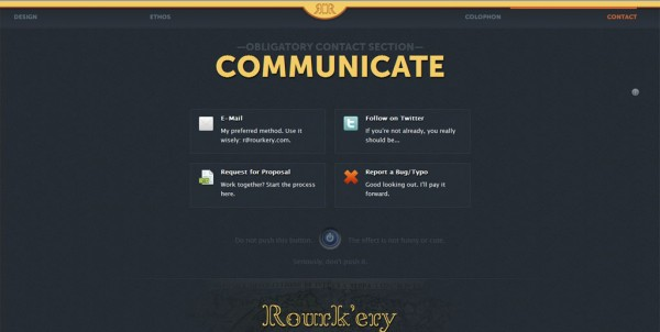 rourkery.com, formulaire contact, twitter, email, design