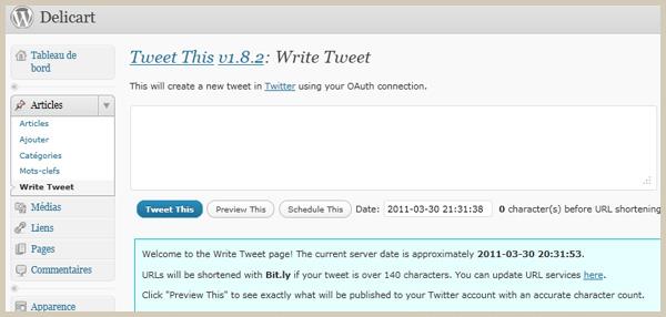 Ecrire un tweet dans l'administration wordpress