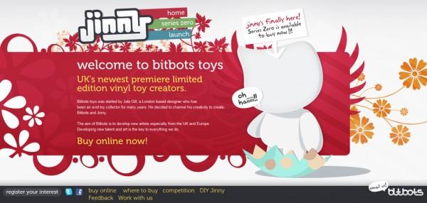 Bitbots Toys, exemple de site : navigation horizontale / Design