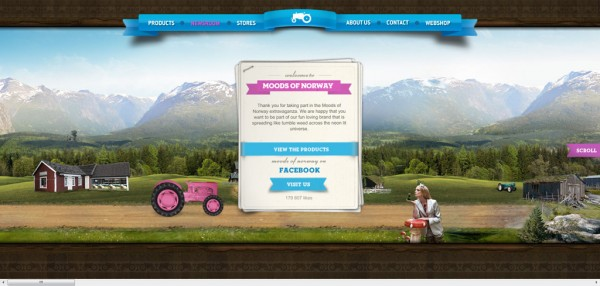Moods of Norway, exemple de site : navigation horizontale / Design